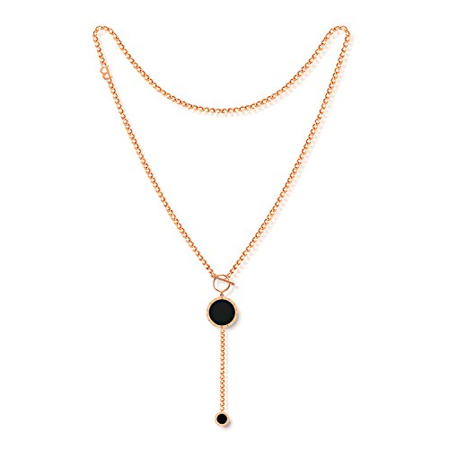 FCZDQ Rose Gold Plated Stainless Steel Multi Rings Pendant Sweater Chain Womens Necklace