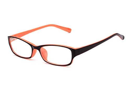 Agstum Kids Classic Rectangle Optical Frame Girls Boys Glasses Clear Lens (Black / - Prescription Orange Glasses