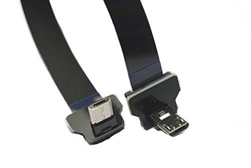 Slim Flat Micro USB FPV Flat Slim Thin Ribbon FPC Cable Micro USB 90 degree angle to Micro USB 90 UP for sync and charging (10CM) (Usb Cable Ribbon)