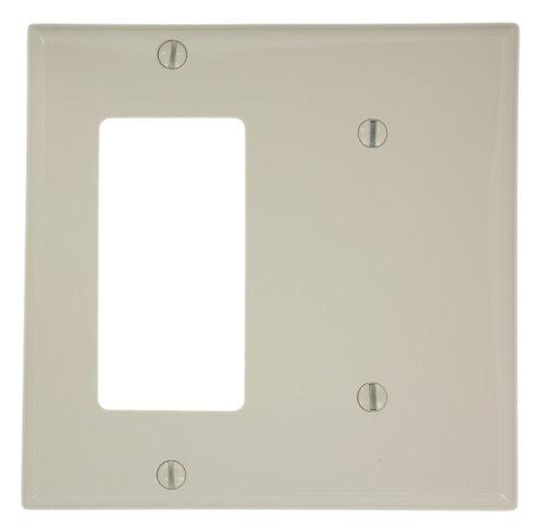 Leviton 80708-T 2-Gang 1-Blank, 1-Decora/GFCI Device Combination Wallplate, Standard Size, Light Almond