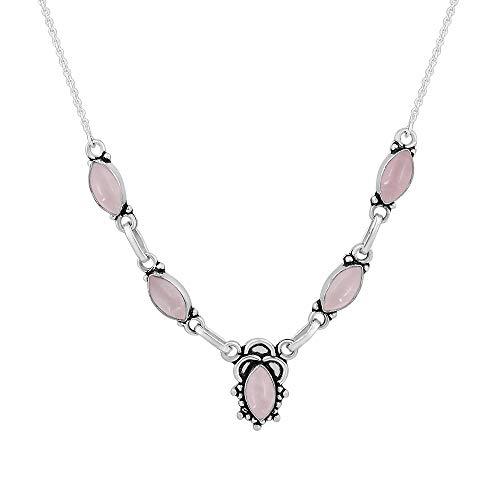 14.00ctw,Genuine Rose Quartz & 925 Silver Plated Necklace