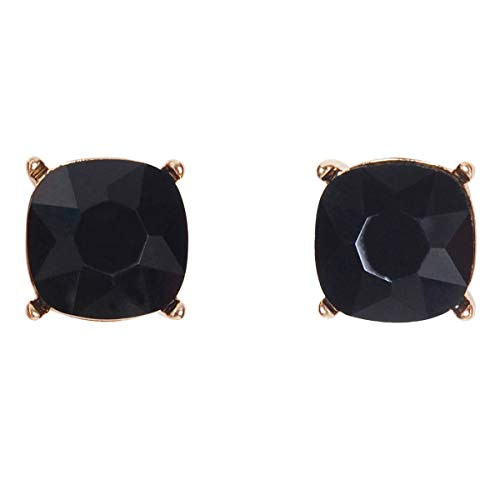 - Humble Chic Faceted Rhinestone Square Stud Earrings Cushion Cut Statement Post Ear Studs, Black, Jet, Gold-Tone