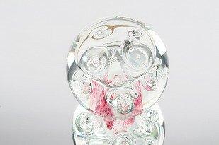 (M Design Art Handcraft Glass Pink Bubble Art Paperweight NP-1622)