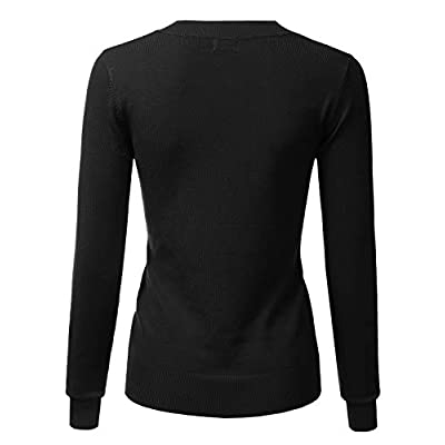 LALABEE Women's V-Neck Long Sleeve Soft Stretch Pullover Knit Top Sweater (S~XL) at Women's Clothing store