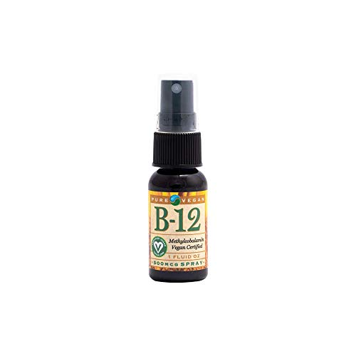 Pure Vegan Liquid Vitamin B12 Methylcobalamin Spray Vegan, 1 Ounce