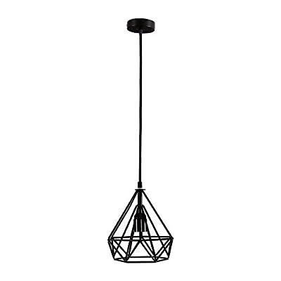 COOLWEST 1 Light Mini Vintage Edison Hanging Caged Pendant Light Fixture,Adjustable Black Cord