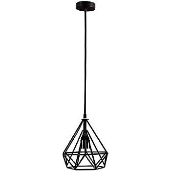 coolwest 1 light 8 inch vintage edison hanging caged pendant light black cord