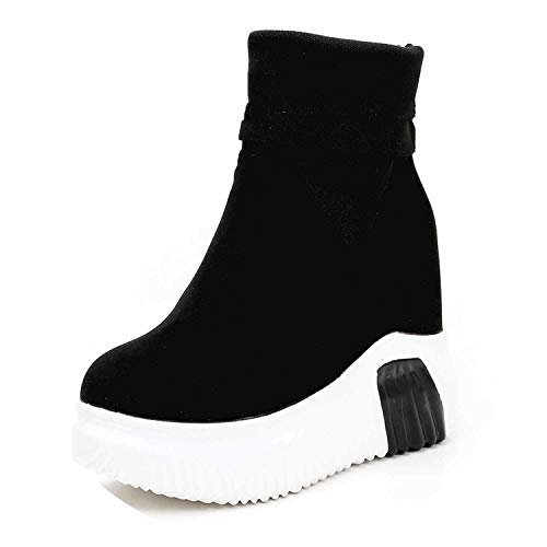 (Autumn Winter Women Casual Wedge Platform Shoes Black Motorcycle Flock Knitted Sock Boots,Black,6)