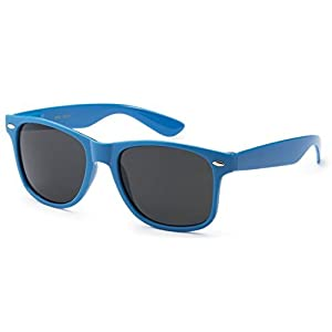 Sunglasses Classic 80's Vintage Style Design (Neon Blue)