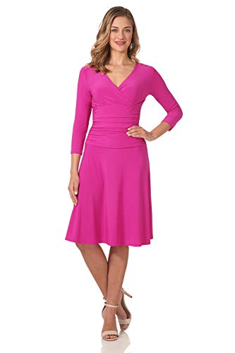 Rekucci Women's Slimming 3/4 Sleeve Fit-and-Flare Crossover Tummy Control Dress (14,Hot Pink)