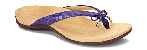 Vionic Women's Rest Bella II Toepost Sandal - Ladies Flip Flop with Concealed Orthotic Arch Support Purple Lizard 8 M US -