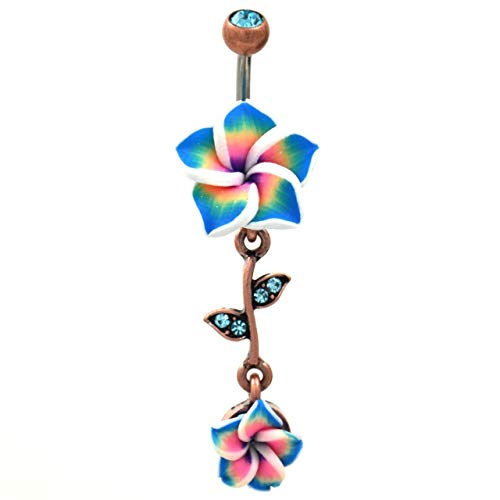 tropical flower belly ring - 4