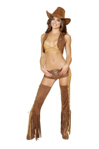Roma Costume Women's 5 piece Naughty Western Sheriff, Brown/Tan, Medium/Large (Sexy Cowgirl Lingerie)