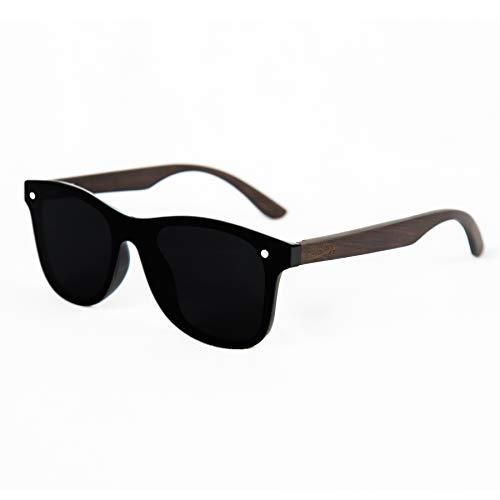 Limitless Wooden Sunglasses, Wooden Retro Frameless Sunglasses, Vintage Mirror UV400 Polarized Rimless Eyewear (Retro Black, Black)