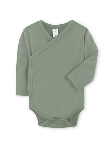 Colored Organics Baby Organic Cotton Kimono Bodysuit - Long Sleeve Infant Side Snap Onesie - Newborn 0-3 Months - Thyme Green