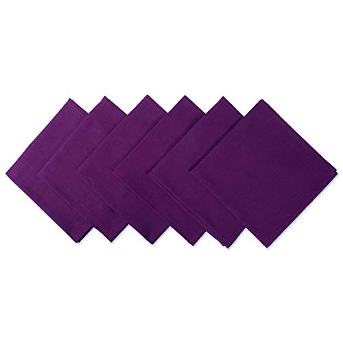DII 100% Cotton Cloth Napkins, Oversized 20x20 Dinner Napkins, For Basic Everyday Use, Banquets, Weddings, Events, or Family Gatherings - Set of 6, Eggplant