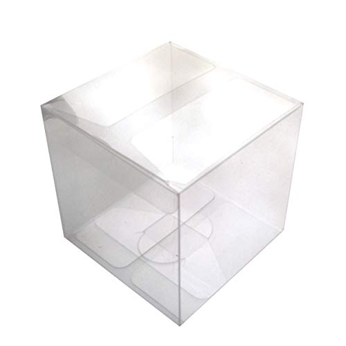OUNONA 25pcs Clear Box 4x4x4cm for Christmas Eve Apple Gift Candy Treat Storage Packing Box -