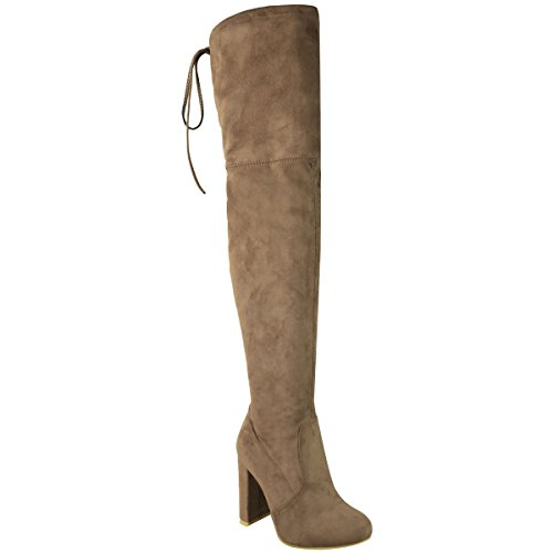 Fashion Thirsty Womens Thigh High Boots Over The Knee Party Stretch Block Mid Heel Size 9