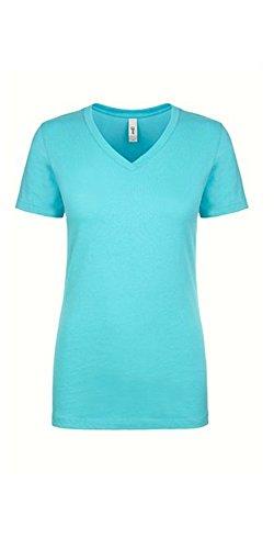 Next Level Women's Lightweight V-Neck Jersey T-Shirt, Small, Tahiti Blue