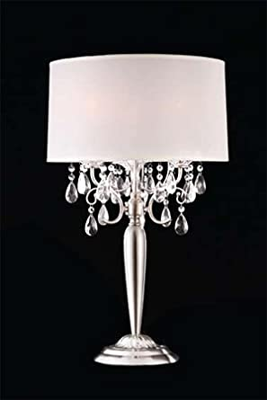 Contemporary Silver Table Lamps: Modern Contemporary Crystal Silver Wide Table Lamp,Lighting