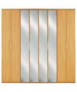 vancouver mirrored 4 bi fold door wardrobe in beech amazon co uk