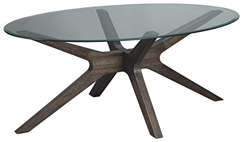 Signature Design by Ashley - Zannory Cocktail Table w/ Glass Top, Brown (Coffee Oval Table Small Glass)