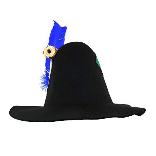 Adult Wool Felt Hillbilly Hobo Scarecrow Flat Brim Hat w/ Corncob Pipe & Feather]()