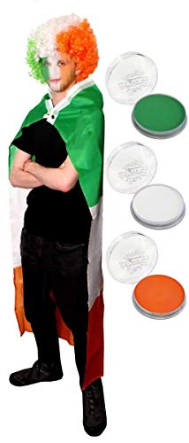 (Unisex Adults Irish Fancy Dress Costume - ST Patricks Day Sporting Events,Irish Flag Wig, Irish Flag/Cape and Tricolour Facepaint - ST Patricks Day)