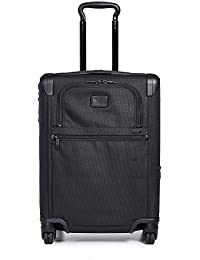 Alpha 2 Continental Expandable 4 Wheel Carry-On Luggage - Rolling Suitcase for Men and Women - Black