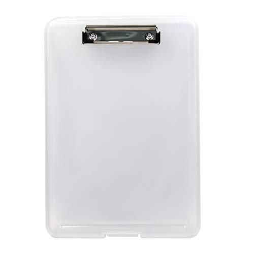 1PC A4 Size Plastic Storage Clipboard with Built-in Pen Holder, - Pen Plastic White
