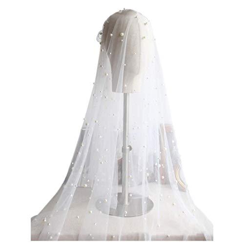 Pearl Wedding Veil for Bridal - Edge Fingertip Length 2 Tier (J2104)