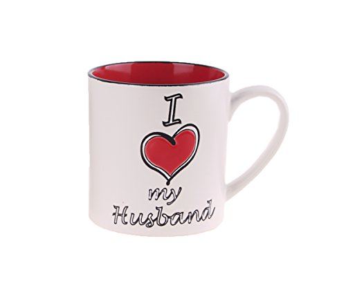 Blue Sky Ceramic 4417 21 Oz I Heart Love My Husband Mug