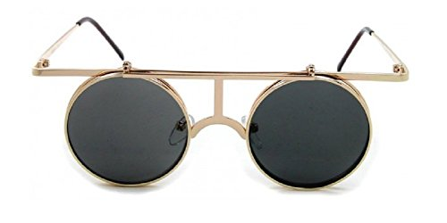 Round Metal Wire Frame Flip Up Steampunk Sunglasses (Gold Frame, Black - Depot Sunglass