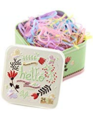 1 Box (700PCS) Disposable Hair Ponytail Holders Elastic Hair Bands Hair Tie Rubber Bands with Cute Tin Box for Baby Kids Girls (Candy colour)