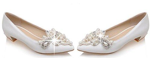 Idifu Donna Elegante Strass Low Top Slip On Scarpe A Punta Chiuse Scarpe Con Tacco Basso Bianco