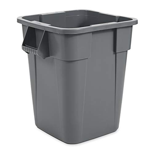Rubbermaid Commercial Products BRUTE Square Bin Storage Container without Lid, 40-Gallon, Gray - Garbage Square