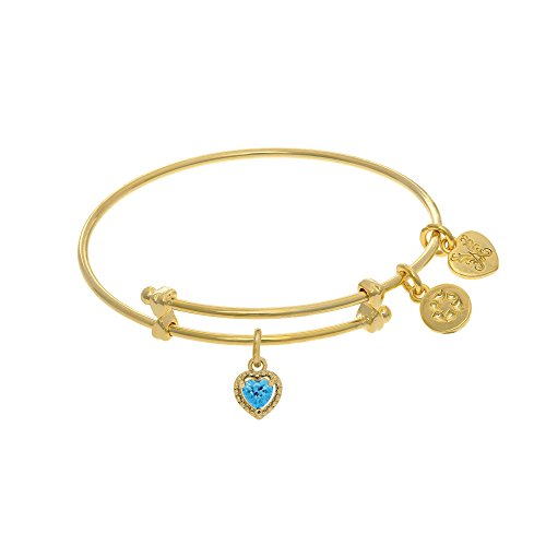 March Birthstone Heart Crystal Tween Charm Bangle Bracelet in Yellow Brass -  Angelica Collection