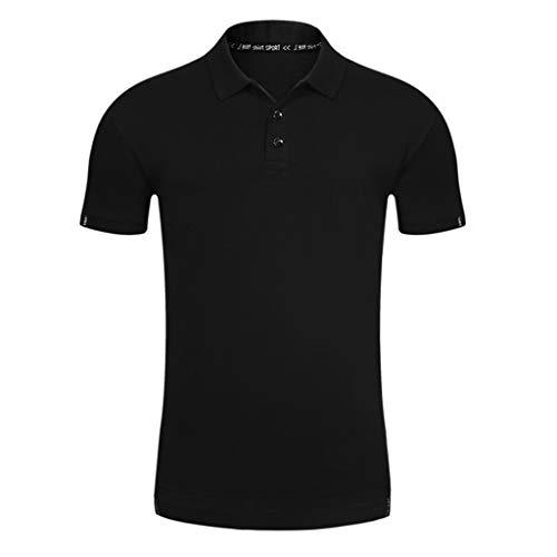 POQOQ Polo Shirt Men's Regular-fit Quick-Dry Stripe Golf Polo Shirt Men's Performance Polo Men's Regular-Fit Cotton Polo Shirt L Black -