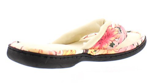 Slipper Flip Malina Indoor Thong Flop Toe Gold Ivory House Foam Outdoor Plush Memory Trim Floral Women's FqRY6