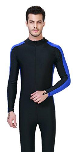 LANBAOSI Men's UPF50+ Snorkeling Diving Surfing Rashguard Long Sleeve Front Zip Wetsuit X-Large Sky by LANBAOSI