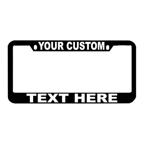 Speedy Pros Custom Personalized License Plate Frame Zinc Metal Car Tag Holder Black 2 Holes -