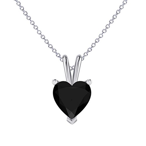 Nisiddh Inc Heart Shape Brilliant Cut Lab Created Black CZ Diamond Solitaire Pendant 18'' Chain Necklace Jewelry in 14K White Gold Plated Sterling Silver