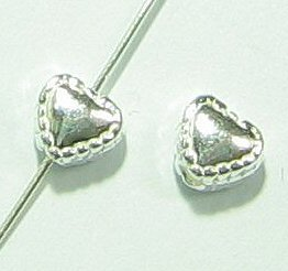 4 pcs .925 Sterling Silver Love Heart Bead Spacer 4.5mm / Findings / Bright ()