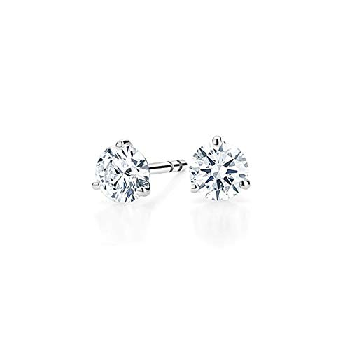 bbamjewelry Certified Round Cut Three-Prong Real Moissanite Solitaire Stud Earrings In Solid 14K White Gold