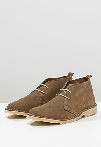 Pier One Classy Mens Suede Desert Boots In Beige, Black or Light Grey - Low Top Chukka Boots With Lace Up - Casual Leather Shoes For Men Beige