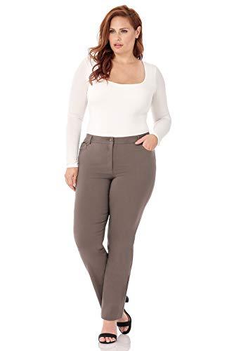 Rekucci Curvy Woman 5 Pocket Straight Leg Plus Size Pant w/Zipper (24WSHORT,Mocha)