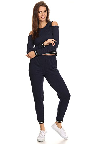 MeshMe Womens Cassandra - Navy Blue Comfortable Ribbed Stretchy Tracksuit Cold Shoulder Long Sleeve Crop Top and Jogger Bottom Sweatpants With Pockets Comfy Pajamas Style Activewear Full Set (Flirtatious Stripe)