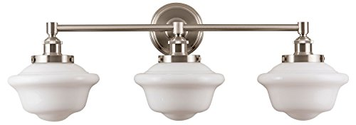 Lavagna 3 Light Bathroom Vanity Brushed Nickel with Milk Glass Linea di Liara ()