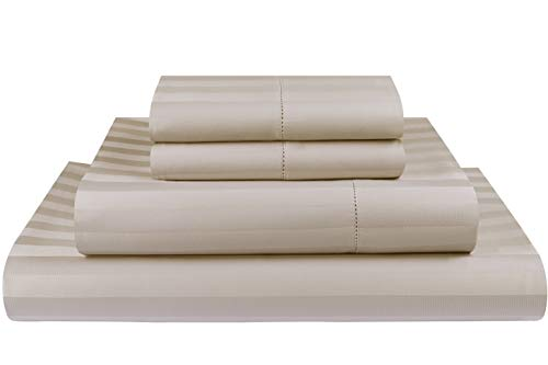 Threadmill Home Linen 500 Thread Count Damask Stripe Cotton Sheets 100% ELS Cotton, Hem Stitch Luxury 4 Piece Bed Sheet Set, Fits Mattresses up to 18 inches deep, Smooth Sateen ()