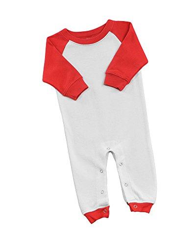 MONAG Long Sleeve Raglan Romper (3-6M, White w/Red)